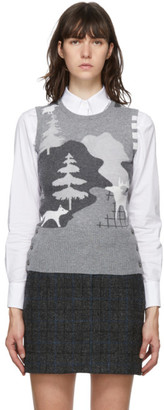 Thom Browne Grey Cashmere Forest Scenery 4-Bar Sweater