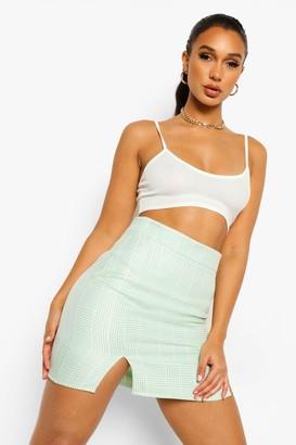boohoo Mini Dogtooth Check A Line Skirt