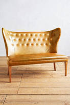 Anthropologie Premium Leather Wingback Bench, Armless