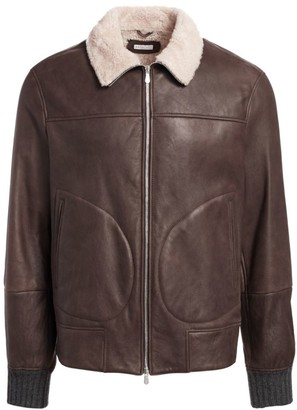Brunello Cucinelli Leather & Shearling Jacket