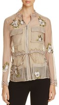 Elie Tahari Katya Embroidered Sheer Silk Jacket
