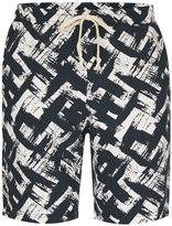 Antioch Dark Blue and White Paint Stroke Shorts*