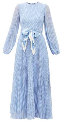 Zimmermann Super Eight Polka-dot Print Crepe Midi Dress - Womens - Blue Print
