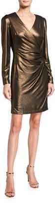 Neiman Marcus Long-Sleeve V-Neck Metallic Dress