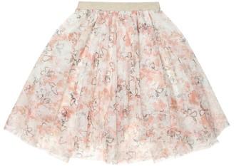 BRUNELLO CUCINELLI KIDS Floral tulle skirt