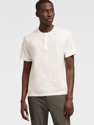 DKNY Men's Short-sleeve Slub Henley - Standard White - Size XS
