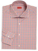 Isaia Blue & Red Plaid Button-Up