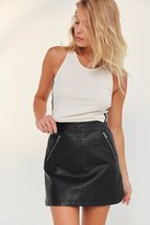 Silence & Noise Silence + Noise Faux Leather Biker Mini Skirt