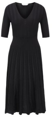 HUGO BOSS Short Sleeved Dress With Sparkly Pleated Skirt - Patterned