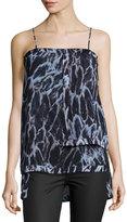 Halston Layered Feather-Print Camisole, Blue