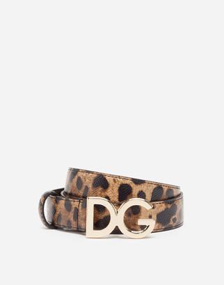 Dolce & Gabbana Leopard-Print Dauphine Calfskin Belt