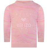 Kenzo KidsBaby Girls Pink Knitted Tiger Sweater