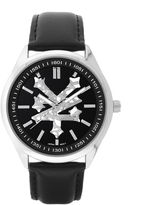 Zoo York Mens All Black Leather Strap Watch