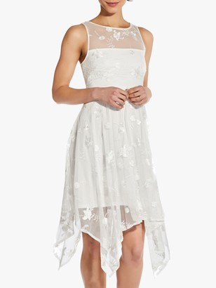 Adrianna Papell Floral Embroidered Handkerchief Hem Dress, Ivory