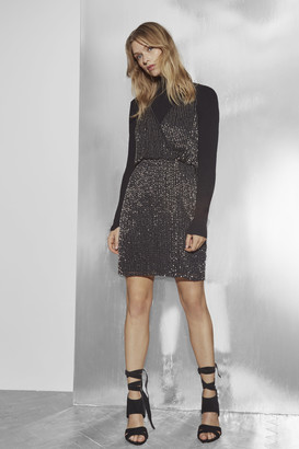 French Connection Enid Shimmer V Neck Sequin Dress