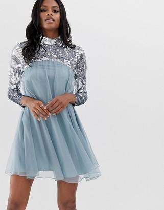 Asos Design DESIGN long sleeve embellished yoke midi smock dress-Blue
