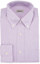 Brioni Button-Front Solid Dress Shirt, Lilac