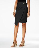 Thalia Sodi Asymmetrical Faux-Wrap Pencil Skirt, Only at Macy's
