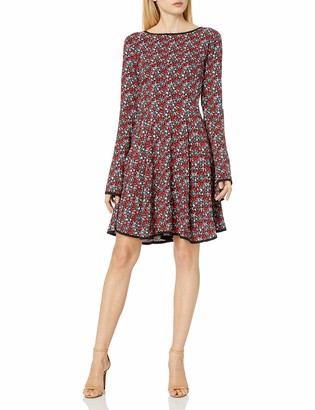 James & Erin Women's Piped Printed Knit Flare Dress