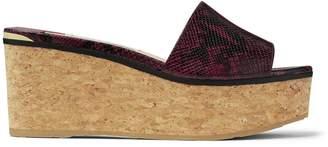 Jimmy Choo DEEDEE 80 Bordeaux Snake Printed Leather Sandal Wedges