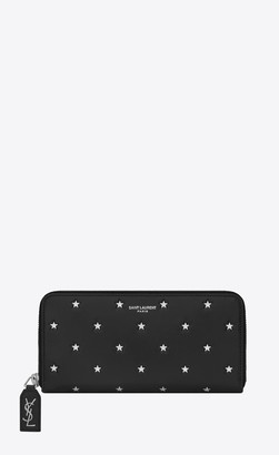 Saint Laurent Rive Gauche Slg Rive Gauche Zip Around Wallet In Smooth Leather Decorated With Embossed Stars Silver Black Onesize