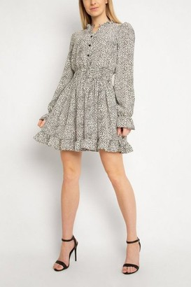 Gini London Gini London White Animal Print Puff Sleeve Dress