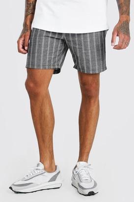 boohoo Mens Black Elastic Waist Linen Look Stripe Short, Black