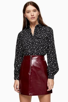 Topshop PETITE Black and White Star Print Shirt