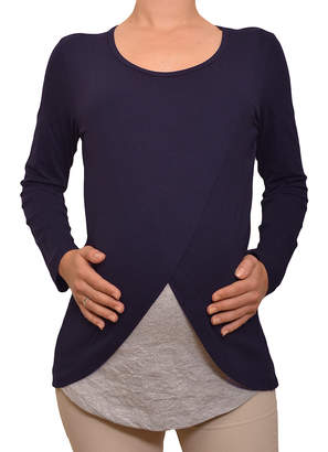 Myra Europe Women's Tee Shirts Navy&Grey - Navy & Gray Layered Maternity/Nursing Long-Sleeve Top