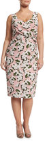 Marina Rinaldi Depliant Sleeveless Flower-Print Sheath Dress, Plus Size
