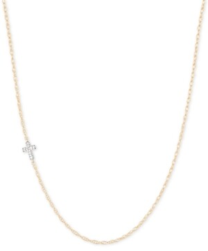 "Elsie May Diamond Accent Asymmetrical Cross Pendant Necklace in 14k Gold, 15"" + 1"" extender, Created for Macy's"