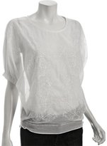 white embroidered cotton-silk voile blouse