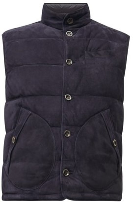 Ralph Lauren Purple Label Reversible Quilted Down Suede And Shell Gilet - Navy