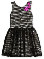 Zoe Sleeveless Smocked Mesh Dress, Black/White, Size 4-6X