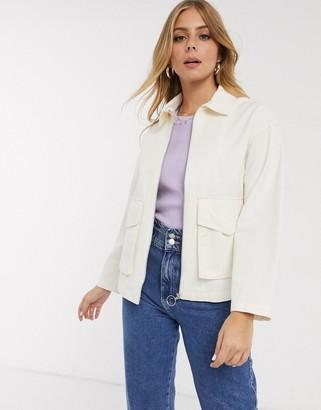ASOS DESIGN cotton pocket shacket in cream