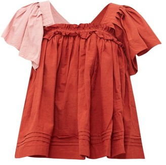 Story mfg. Aida Gathered Organic-cotton Voile Top - Red Multi