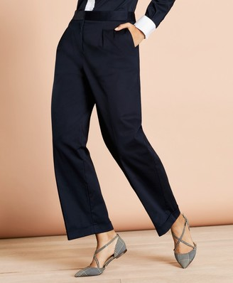 Brooks Brothers Pleat-Front Cropped Wide-Leg Pants