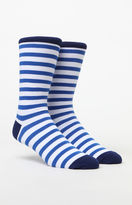Richer Poorer Theo Striped White & Blue Crew Socks
