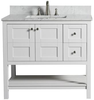 "Carrera Woodbridge Kitchen & Bath WoodBridge 36"" Solid Wood Vanity w White Marble Top, Right Dr"