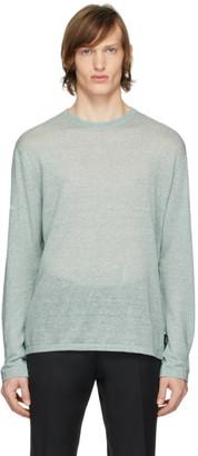 Ermenegildo Zegna Green Linen Long Sleeve T-Shirt