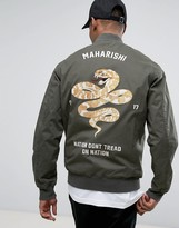 MHI Bomber Jacket In Khaki With Snake Embroidery