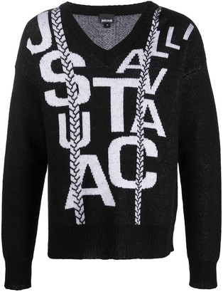 Just Cavalli Contrast-Logo V-Neck Jumper