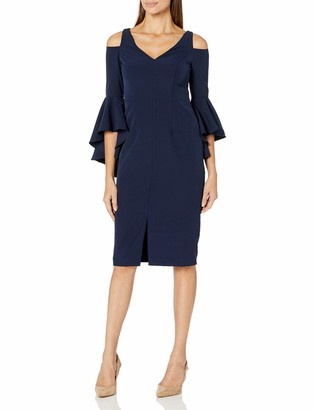 Maggy London Women's Cold Shoulder Sheath Dress with Ruffle Sleeve