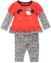 Buster Brown True Red & Cheetah Ruffle Tee & Leggings - Infant