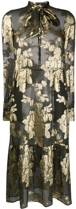 Saint Laurent Floral Brocade Sheer Dress