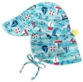 I Play Wavy Boats Flap Sun Hat in Aqua