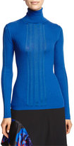 DKNY Ribbed Jersey Turtleneck Top, Blue