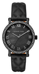 MICHAEL Michael Kors 38mm Norie Pave Watch w/ Quilted Leather Strap, Black