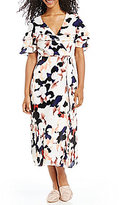 1 STATE Printed Ruffle Tie Front Wrap Midi Dress