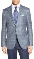 David Donahue Men's Classic Fit Windowpane Wool, Silk & Linen Blend Sport Coat